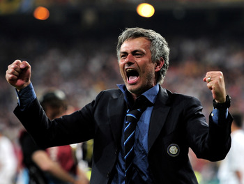 MADRID, SPAIN - MAY 22:  Head coach Jose Mourinho of Inter Milan celebrates his team's victory at the end of during the UEFA Champions League Final match between FC Bayern Muenchen and Inter Milan at the Estadio Santiago Bernabeu on May 22, 2010 in Madrid