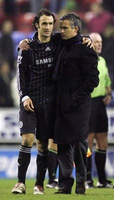 WIGAN, UNITED KINGDOM - DECEMBER 23:  Jose Mourinho of Chelsea celebrates their win with Ricardo Carvalho after the Barclays Premiership match between Wigan Athletic and Chelsea at The JJB Stadium on  December 23, 2006 in Wigan, England.  (Photo by Lauren