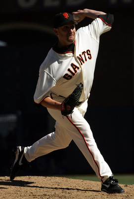 SAN FRANCISCO - APRIL 5:  Scott Eyre #47 of the San Francisco Giants pitches against the Los Angeles Dodgers at SBC Park on April 5, 2005 in San Francisco, California.  The Giants won 4-2. (Photo by Stephen Dunn /Getty Images)