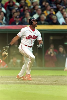 7 Oct 1999: Harold Baines #33 of the Cleveland Indians hits is third home run during the game against the Boston Red Sox at Jacobs Field in Cleveland, Ohio. The Indians defeated the Red Sox 11-1. Mandatory Credit: Jonathan Daniel  /Allsport
