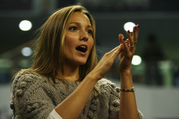 SHANGHAI, CHINA - NOVEMBER 16: Jelena Ristic, girlfriend of Novak Djokovic of Serbia, watches his final match against Nikolay Davydenko of Russia in the Tennis Masters Cup held at Qin Zhong Stadium on November 16, 2008 in Shanghai, China.  (Photo by Andre