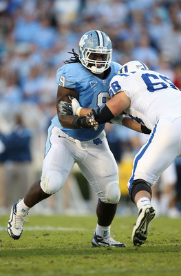 CHAPEL HILL, NC - NOVEMBER 07:  Marvin Austin #9 of the North Carolina Tar Heels goes after the Duke Blue Devils during their game at Kenan Stadium on November 7, 2009 in Chapel Hill, North Carolina.  (Photo by Streeter Lecka/Getty Images)