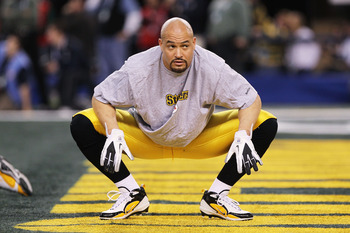 ARLINGTON, TX - FEBRUARY 06:  James Farrior #51 of the Pittsburgh Steelers looks on before taking on the Green Bay Packers during Super Bowl XLV at Cowboys Stadium on February 6, 2011 in Arlington, Texas.  (Photo by Doug Pensinger/Getty Images)