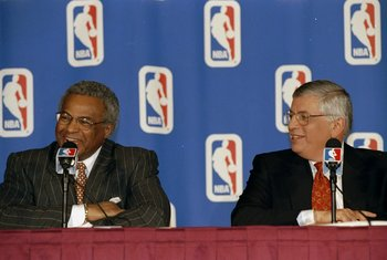 7 Jan 1999:  NBA Union Director Billy Hunter (L) with NBA Commissioner David Stern (R) at the NBA Lockout Ending press conference at the New York Sheraton in New York, New York. Mandatory Credit: Ezra O. Shaw  /Allsport