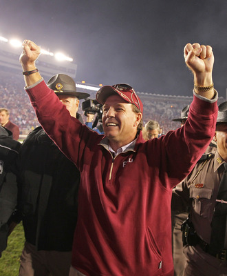 TALLAHASSEE, FL - NOVEMBER 27:  Florida State Seminoles head coach Jimbo Fisher celebrates a win against the Florida Gators at Doak Campbell Stadium on November 27, 2010 in Tallahassee, Florida.  (Photo by Mike Ehrmann/Getty Images)