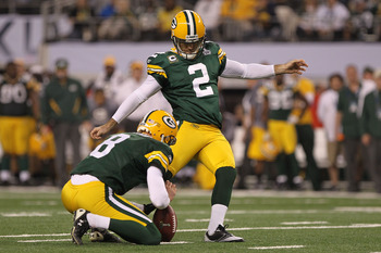 ARLINGTON, TX - FEBRUARY 06:  Mason Crosby #2  of the Green Bay Packers kicks a field goal during the fourth quarter of Super Bowl XLV at Cowboys Stadium on February 6, 2011 in Arlington, Texas.  (Photo by Doug Pensinger/Getty Images)