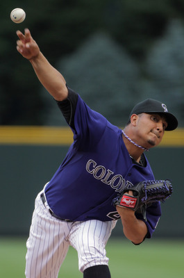 DENVER, CO - AUGUST 01:  Starting pitcher Jhoulys Chacin #45 of the Colorado Rockies delivers against the Philadelphia Phillies at Coors Field on August 1, 2011 in Denver, Colorado.  (Photo by Doug Pensinger/Getty Images)