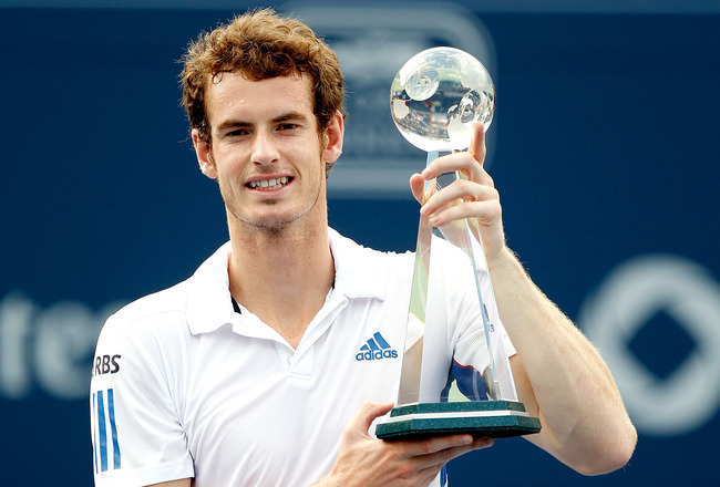 TORONTO, ON - AUGUST 15:  Andy Murray of Great Britain poses for photographers after defeating Roger Federer of Switzerland during the final of the Rogers Cup at the Rexall Centre on August 15, 2010 in Toronto, Canada.  (Photo by Matthew Stockman/Getty Im
