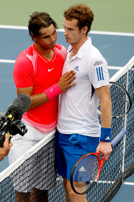 TORONTO, ON - AUGUST 14:  Rafael Nadal of Spain congratulates Andy Murray of Great Britain after their match during the semifinals of the Rogers Cup at the Rexall Centre on August 14, 2010 in Toronto, Canada.  (Photo by Matthew Stockman/Getty Images)