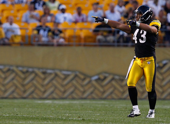 PITTSBURGH - SEPTEMBER 02: Troy Polamalu #43 of the Pittsburgh Steelers calls out signals during the preseason game against the Carolina Panthers on September 2, 2010 at Heinz Field in Pittsburgh, Pennsylvania. (Photo by Jared Wickerham/Getty Images)