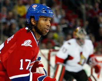 MONTREAL- OCTOBER 17:  Georges Laraque #17 of the Montreal Canadiens skates during the NHL game against the Ottawa Senators on October 17, 2009 at the Bell Centre in Montreal, Quebec, Canada.  The Senators defeated the Canadiens 3-1.  (Photo by Richard Wo