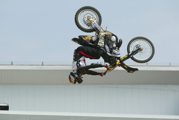 Mike Metzger completing a back flip at the 2002 X Games