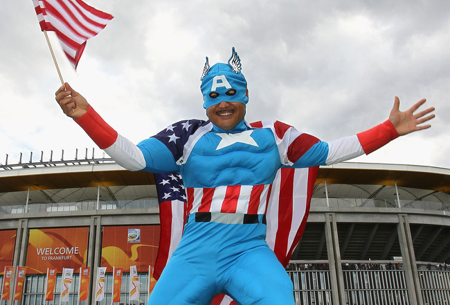 FRANKFURT AM MAIN, GERMANY - JULY 17:  A fan of the USA poses prior to the FIFA Women's World Cup Final match between Japan and USA at the FIFA World Cup stadium Frankfurt on July 17, 2011 in Frankfurt am Main, Germany.  (Photo by Christof Koepsel/Getty I