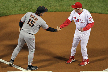 PHILADELPHIA - OCTOBER 16:  Manager Bruce Bochy of the San Francisco Giants shakes hands with manager Charlie Manuel of the Philadelphia Phillies before Game One of the NLCS during the 2010 MLB Playoffs at Citizens Bank Park on October 16, 2010 in Philade