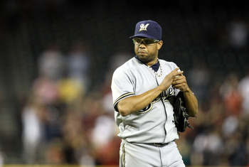 PHOENIX, AZ - JULY 20:  Relief pitcher Francisco Rodriguez #57 of the Milwaukee Brewers reacts on the mound during the Major League Baseball game against the Arizona Diamondbacks at Chase Field on July 20, 2011 in Phoenix, Arizona. The Brewers defeated th