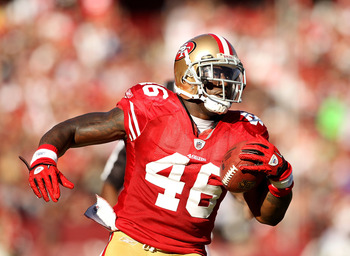 SAN FRANCISCO - NOVEMBER 14:  Delanie Walker #46 of the San Francisco 49ers in action against the St. Louis Rams at Candlestick Park on November 14, 2010 in San Francisco, California.  (Photo by Ezra Shaw/Getty Images)