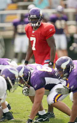 MANKATO, MN - AUGUST 2:  Quarterback Tarvaris Jackson #7 of the Minnesota Vikings looks on in the afternoon practice during 2006 Training Camp on August 2, 2006 at Minnesota State University in Mankato, Minnesota. (Photo by David Sherman/Getty Images)
