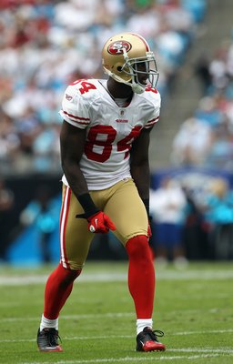 CHARLOTTE, NC - OCTOBER 24:  Josh Morgan #84 of the San Francisco 49ers against the Carolina Panthers during their game at Bank of America Stadium on October 24, 2010 in Charlotte, North Carolina.  (Photo by Streeter Lecka/Getty Images)