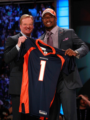 NEW YORK, NY - APRIL 28:  NFL Commissioner Roger Goodell poses for a photo with Von Miller, #2 overall pick by the Denver Broncos, as he holds up a jersey on stage during the 2011 NFL Draft at Radio City Music Hall on April 28, 2011 in New York City.  (Ph