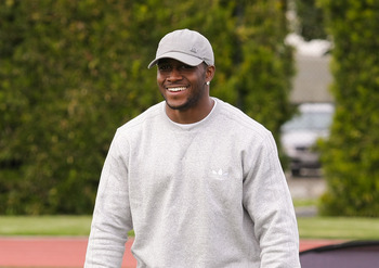 LOS ANGELES, CA - MARCH 19:  adidas and Reggie Bush pop into a football practice in Los Angeles to capture game faces as part of the adidas Facebook Game Face contest.  (Photo by Noel Vasquez/Getty Images for adidas)