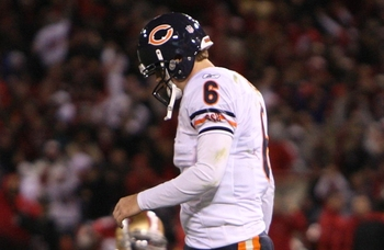 SAN FRANCISCO - NOVEMBER 12:  Jay Cutler #6 of the Chicago Bears walks off the field dejected after their 10-6 loss against the San Francisco 49ers at Candlestick Park on November 12, 2009 in San Francisco, California.  (Photo by Jed Jacobsohn/Getty Image