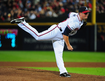 ATLANTA - JULY 30: Craig Kimbrel #46 of the Atlanta Braves pitches against the Florida Marlins at Turner Field on July 30, 2011 in Atlanta, Georgia. (Photo by Scott Cunningham/Getty Images)