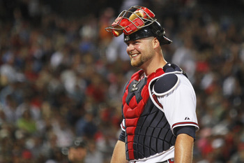 ATLANTA, GA - JULY 16: Brian McCann #16 of the Atlanta Braves smiles in the game against the Washington Nationals on July 16, 2011 at Turner Field in Atlanta, Georgia. (Photo by Daniel Shirey/Getty Images)