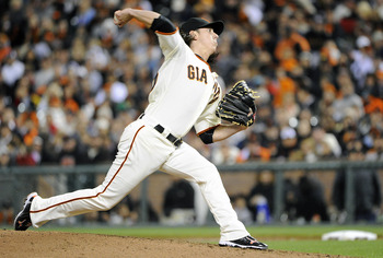SAN FRANCISCO, CA - AUGUST 2: Tim Lincecum #55 of the San Francisco Giants pitches against the Arizona Diamondbacks in the seventh inning during an MLB baseball game at AT&T Park August 2, 2011 in San Francisco, California. (Photo by Thearon W. Henderson/