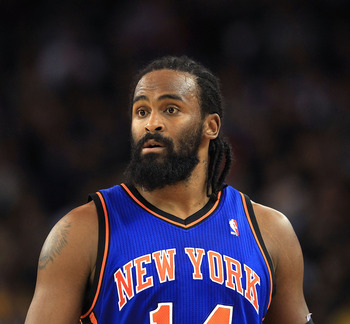 OAKLAND, CA - NOVEMBER 19:  Ronny Turiaf #14 of the New York Knicks in action against the Golden State Warriors at Oracle Arena on November 19, 2010 in Oakland, California. NOTE TO USER: User expressly acknowledges and agrees that, by downloading and or u