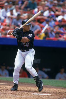 31 Jul 2000:  Benny Agbayani #50 of the New York Mets at bat during the game against the St. Louis Cardinals at Shea Stadium in Flushing, New York. The Mets defeated the Cardinals 4-2.Mandatory Credit: Al Bello  /Allsport