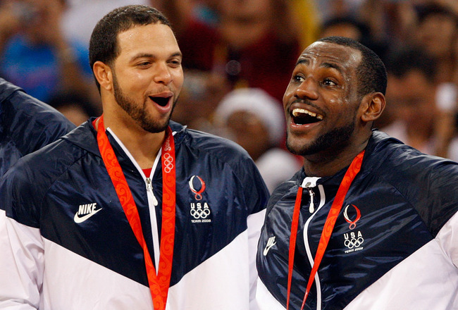 BEIJING - AUGUST 24:  (L-R) Deron Williams #7, LeBron James #6 and Jason Kidd #5 of the United States share a laugh during the medal ceremony after defeating Spain 118-107 in the gold medal game during Day 16 of the Beijing 2008 Olympic Games at the Beiji