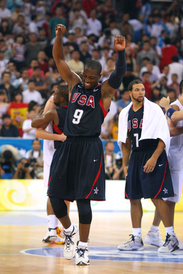 BEIJING - AUGUST 24:  Dwyane Wade #9 of the United States celebrates after winning the gold medal game 118-107 over Spain during Day 16 of the Beijing 2008 Olympic Games at the Beijing Olympic Basketball Gymnasium on August 24, 2008 in Beijing, China.  (P