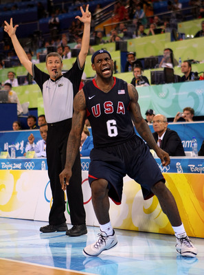 BEIJING - AUGUST 22:  LeBron James #6 of the United States reacts after he made a 3-point basket against Argentina during a men's semifinal baketball game at the Wukesong Indoor Stadium on Day 14 of the Beijing 2008 Olympic Games on August 22, 2008 in Bei
