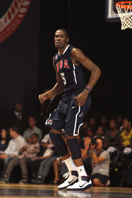 NEW YORK CITY, NY - AUGUST 12:  Kevin Durant #5 looks on during the World Basketball Festival USAB Showcase at Radio City Music Hall on August 12, 2010 in New York City. (Photo by Chris Trotman/Getty Images for Nike)