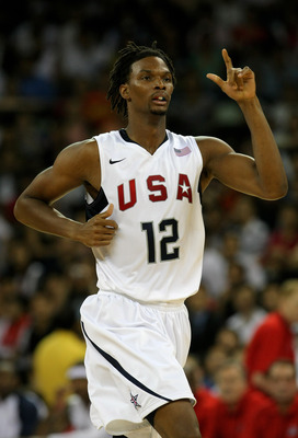 MACAU, CHINA - AUGUST 01: Chris Bosh #12 of the USA Basketball mens senior national team reacts during the USA Basketball International challenge between USA and Lithuania at The Venetian Hotel, on August 1, 2008  in Macau, China.  (Photo by Stu Forster/G