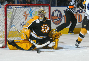 BRIDGEPORT, CT - FEBRUARY 4:  Goaltender Jordan Sigalet #57 of the Providence Bruins guards the net during the game against the Bridgeport Sound Tigers at the Arena at Harbor Yard on February 4, 2006 in Bridgeport, Connecticut. The Tigers won 4-1. (Photo