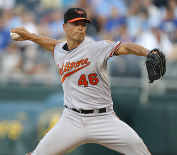 KANSAS CITY, MO - AUGUST 03:  Jeremy Guthrie #46 starting pitcher of Baltimore Orioles throws against the Kansas City Royals in the second inning at Kauffman Stadium on August 3, 2011 in Kansas City, Missouri. (Photo by Ed Zurga/Getty Images)