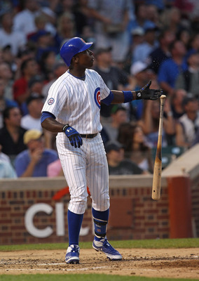 CHICAGO, IL - JUNE 19:  Alfonso Soriano #12 of the Chicago Cubs follows the the flight of his three-run home run in the 3rd inning against the New York Yankees at Wrigley Field on June 19, 2011 in Chicago, Illinois.  (Photo by Jonathan Daniel/Getty Images