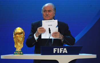 ZURICH, SWITZERLAND - DECEMBER 02: FIFA President Joseph S Blatter names Qatar as the winning hosts of 2022 duirng the FIFA World Cup 2018 & 2022 Host Countries Announcement at the Messe Conference Centre on December 2, 2010 in Zurich, Switzerland.  (Phot
