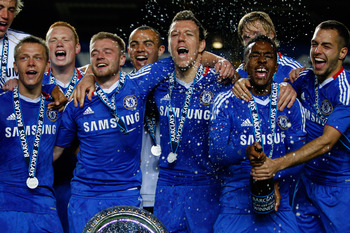 LONDON, ENGLAND - MAY 16:  Chelsea players celebrate after winning the Barclays Premier Reserve League Play-Off Final against Blackburn Rovers at Stamford Bridge on May 16, 2011 in London, England.  (Photo by Dan Istitene/Getty Images)
