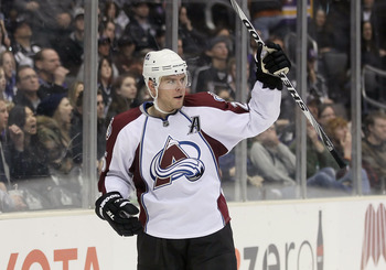 LOS ANGELES, CA - FEBRUARY 26:  Paul Stastny #26 of the Colorado Avalanche celebrates a goal against the Los Angeles Kings at Staples Center on February 26, 2011 in Los Angeles, California.  (Photo by Jeff Gross/Getty Images)