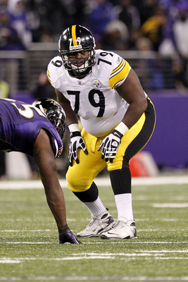 BALTIMORE, MD - DECEMBER 05:  Trai Essex #79 of the Pittsburgh Steelers lines up against the Baltimore Ravens at M&T Bank Stadium on December 5, 2010 in Baltimore, Maryland.  (Photo by Geoff Burke/Getty Images)
