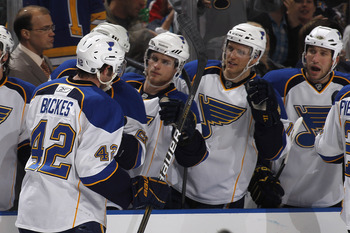 SUNRISE, FL - FEBRUARY 8: David Backes #42 of the St Louis Blues is congratulated after scoring a goal in the second period to tie the game against  the Florida Panthers on February 8, 2011 at the BankAtlantic Center in Sunrise, Florida. (Photo by Joel Au
