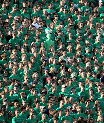 SOUTH BEND, IN - SEPTEMBER 04: Student fans of the Notre Dame Fighting Irish watch as the Irish take on the Purdue Boilermakers at Notre Dame Stadium on September 4, 2010 in South Bend, Indiana. Notre Dame defeated Purdue 23-12. (Photo by Jonathan Daniel/