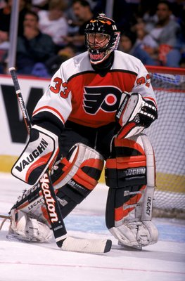 25 Sep 1999: Goalkeeper Brian Boucher #33 of the Philadelphia Flyers waits for the  action during the game against the  New Jersey Devils at the Continental Ailines Arena in East Rutherford, New Jersey. The Devils defeated the Flyers 4-2. Mandatory Credit