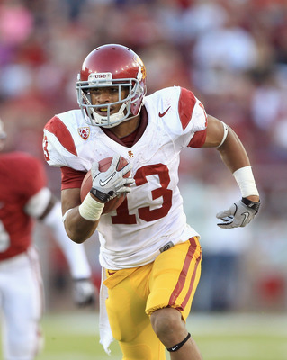 PALO ALTO, CA - OCTOBER 09:  Robert Woods #13 of the USC Trojans runs with the ball during their game against the Stanford Cardinal at Stanford Stadium on October 9, 2010 in Palo Alto, California.  (Photo by Ezra Shaw/Getty Images)
