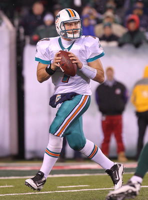 EAST RUTHERFORD, NJ - DECEMBER 12:  Chad Henne #7 of the Miami Dolphins against the New York Jets at New Meadowlands Stadium on December 12, 2010 in East Rutherford, New Jersey.  (Photo by Nick Laham/Getty Images)