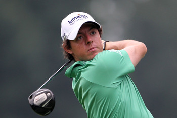 AKRON, OH - AUGUST 06:  Rory McIlory of Northern Ireland hits his tee shot on the third hole during the third round of the World Golf Championships-Bridgestone Invitational on the South Course at Firestone Country Club on August 6, 2011 in Akron, Ohio.  (