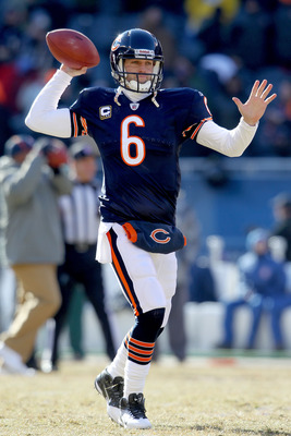 CHICAGO, IL - JANUARY 23:  Quarterback Jay Cutler #6 of the Chicago Bears warms up before taking on the Green Bay Packers in the NFC Championship Game at Soldier Field on January 23, 2011 in Chicago, Illinois.  (Photo by Andy Lyons/Getty Images)