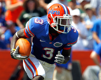 GAINESVILLE, FL - SEPTEMBER 11:  Chris Rainey #3 of the Florida Gators runs for yardage during a game against the South Florida Bulls at Ben Hill Griffin Stadium on September 11, 2010 in Gainesville, Florida.  (Photo by Sam Greenwood/Getty Images)